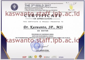 Certificate for Editor The 3rd ISSLD 2017 10 Juli 2018